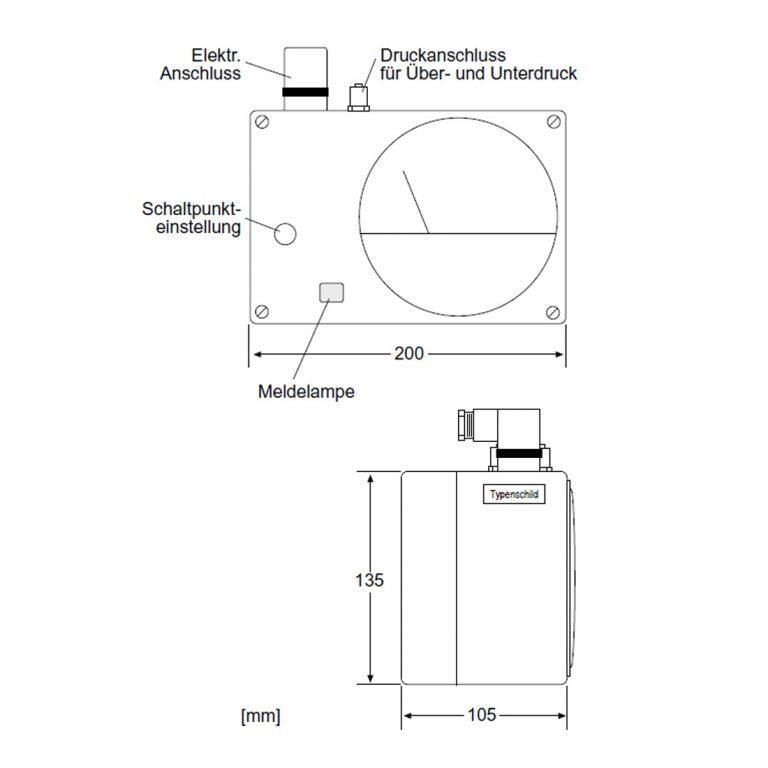 Delta XM Analoges Manometer mit Anzeige und einem Schaltkontakt-215