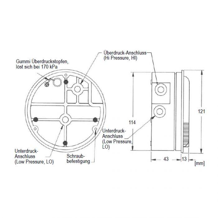 DWYER Magnehelic Serie 2500 Doppelskala Druck und Geschwindigkeit-25
