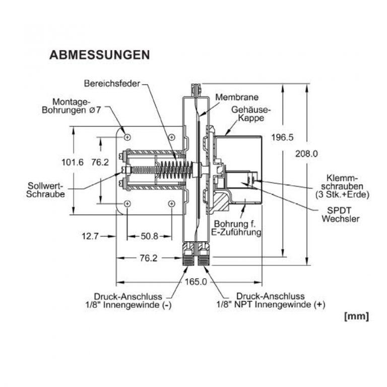 DWYER Serie 1638 Differenzdruck-Schalter ohne Anzeige-196