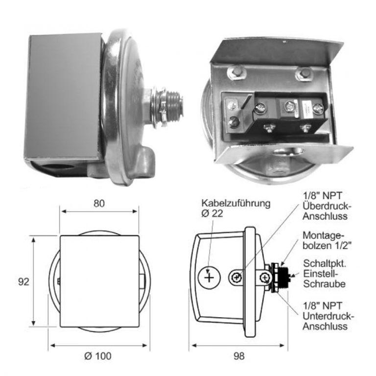 DWYER Serie 1823 Differenzdruck-Schalter ohne Anzeige-198