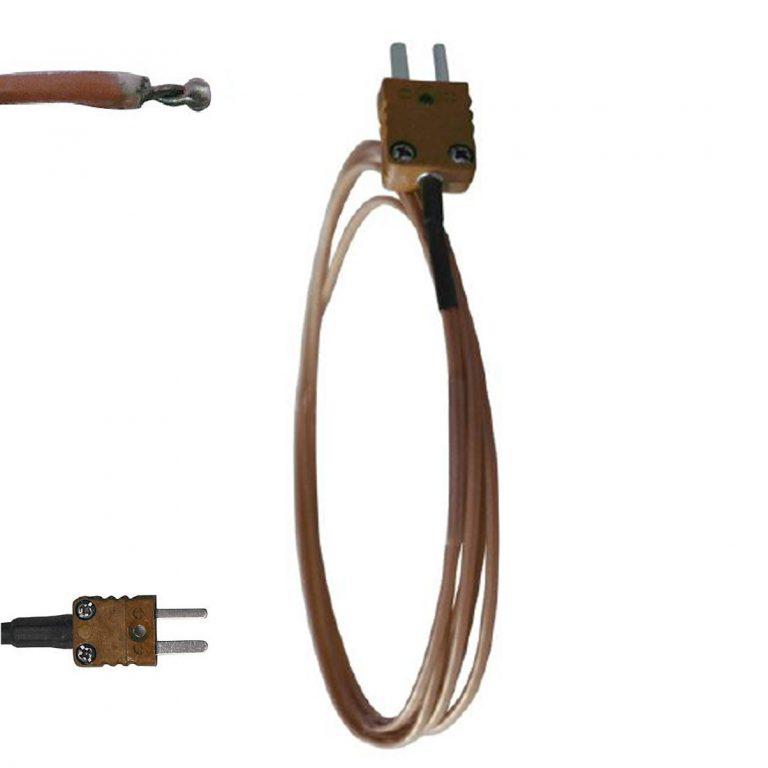 FT-PFA Klasse 1 Thermoelement T Kabelmessfühler (-50 bis +250°C) mit sichtbarer Lötstelle-0