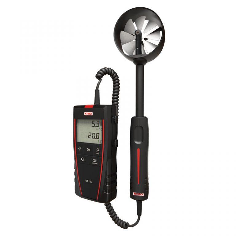 KIMO LV-110 Flügelrad-Anemometer für Luftgeschwindigkeit, Volumenstrom, Temperatur mit fest verbauter Kabelsonde-1622