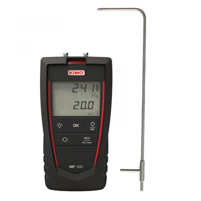 KIMO MP-120 Mikromanometer für Differenzdruck, Luftgeschwindigkeit inklusive Prandtl-Staurohr-0