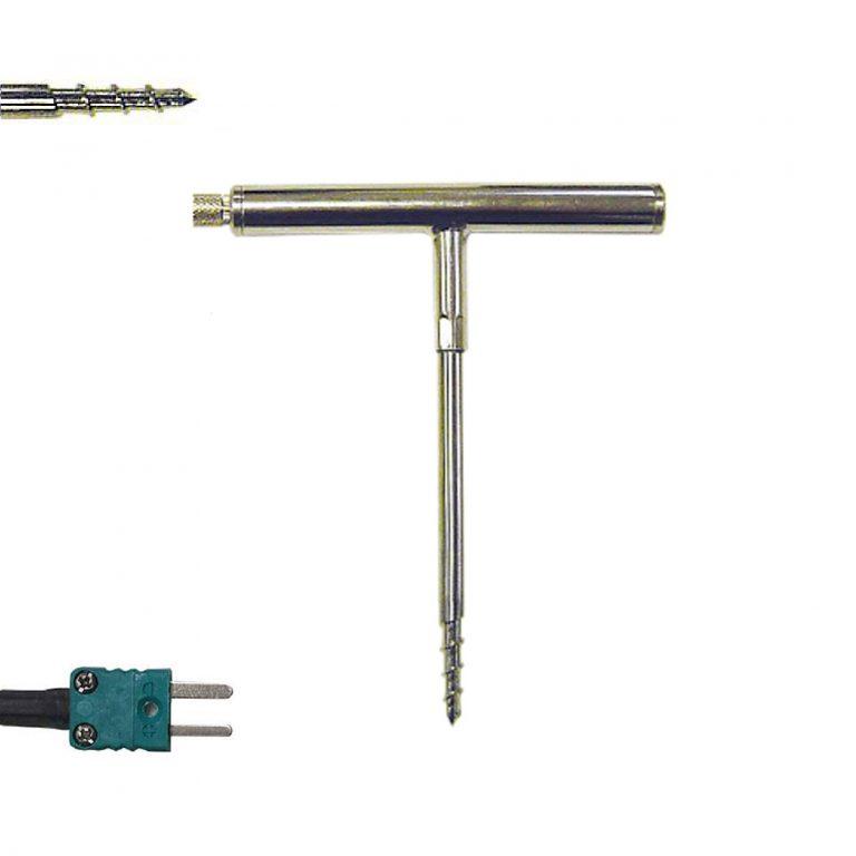SKT-125 Klasse 1 Thermoelement K Korkenzieher-Einstechmessfühler mit T-förmigem Griff (-50 bis +250°C)-0